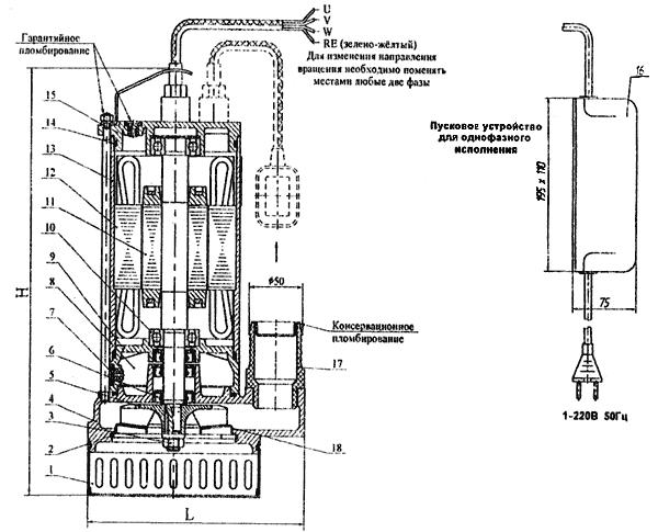 Рис. 1 - Устройство центробежного электрического насоса.  1- фильтр, 2- кольцо стопорное, 3- гайка, 4...